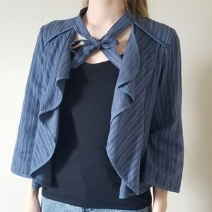 CAbi lightweight blue striped top with bowtie